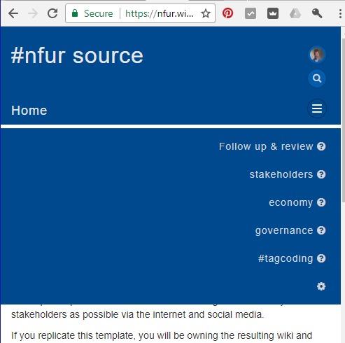 Menu lines in a NFUR top navigation menu