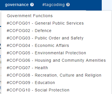 The governance menu