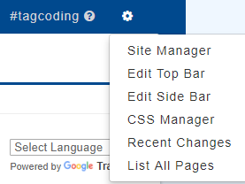 The site manager menu