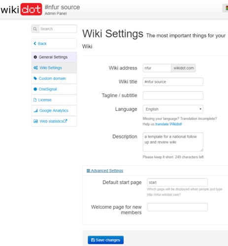 The Wiki Settings page